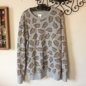 Pusheen Tops - PUSHEEN Kitty Cat Print Grey Pullover Sweatshirt